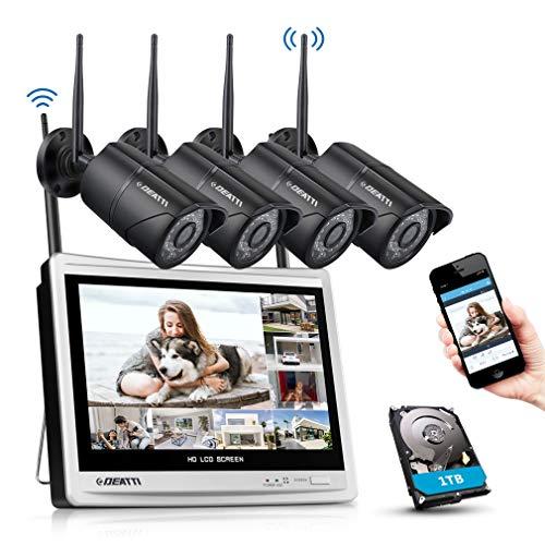 DEATTI Kit de Seguridad WiFi 4 Cámaras 1080P Sistema de Vigilancia Inalámbrica 8CH HD NVR 12 inch LCD Monitor Pantalla con 1TB Disco Duro CCTV IP66 Impermeable Visión Nocturna - 1TB HDD