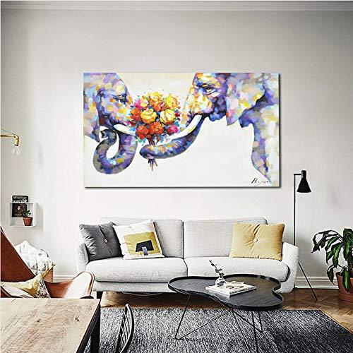 MAOYYM1 Wildlife Animal Olie Schilderijen Muur Kunst Olifant Muur Kunst Voor Woonkamer Op Doek 100% Handgeschilderd Decoratieve Moderne Kunst Geen Inlijsten (alleen canvas) 24X36Inch