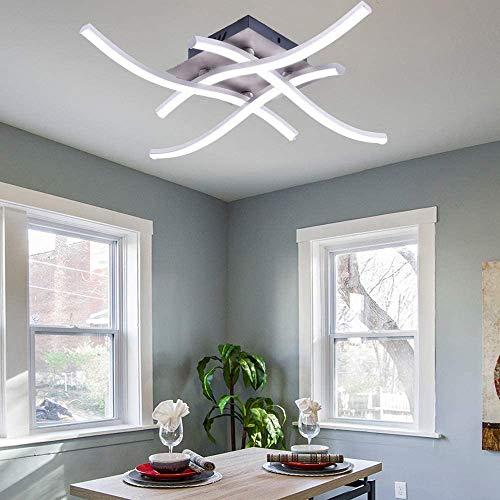 Wowlela Lámpara de techo LED, lámpara de araña, lámpara de techo de diseño curvo moderno con 4 luces onduladas para sala de estar, dormitorio, comedor (28 W, 4 luces, blanco frío)