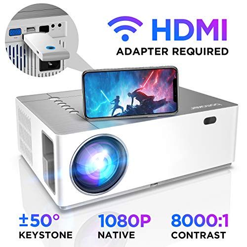 BOMAKER Native 1080p Full HD Projector 6500 Lux 8000:1 Contrast Ratio 50% Zoom Out ±50°Horizontal amp Vertical Keystone 300#039#039 Display Compatible with TV Stick Android iOS HDMI PC PS4