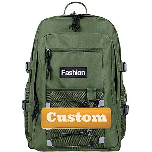 Mzhizhi personalizzato personalizzato nome viaggio casual piccolo zaino per ragazze 20l mini tela zaino per le donne (colore : verde, taglia unica)