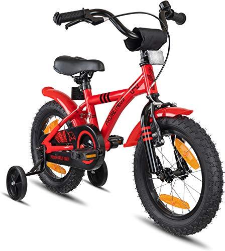 Prometheus Bicicleta Infantil | 14 Pulgadas | niño y niña | Rojo Negro | A Partir de 4 años | con ruedines y Freno de contrapedal | 14' Modelo BMX 2019
