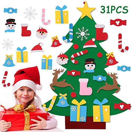 Feltro Albero Natale, 3.3ft Albero di Natale in Feltro per Bambini, DIY Albero Natale Feltro con 31 Staccabili Ornamenti, Regali di Natale per Bambini, per Decorazioni Natalizie da Parete per Porte