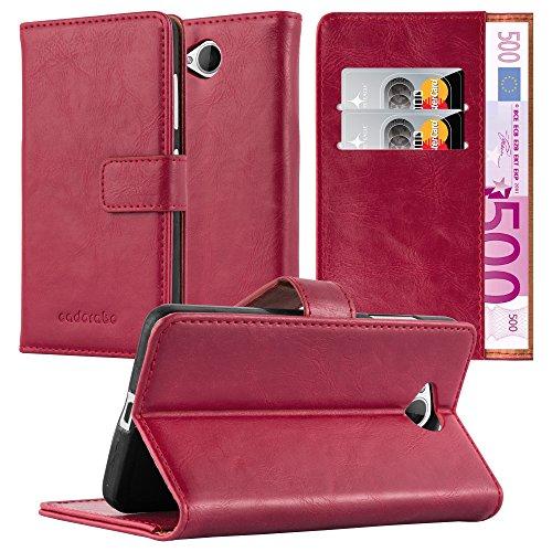 Cadorabo Hülle für Nokia Lumia 650 - Hülle in Wein ROT – Handyhülle im Luxury Design mit Kartenfach & Standfunktion - Hülle Cover Schutzhülle Etui Tasche Book