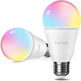 Teckin - Bombilla WiFi Smart LED E27, activable con Amazon Alexa y Google Home, multicolor, regulable, 7,5 W, 800 lm, luz cálida y fría RGBW, 2 unidades