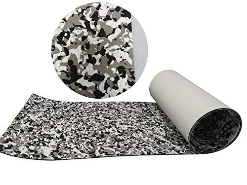 "CHURERSHINING EVA Teak Decking Sheet Marine Flooring Adhesive Carpet Black Camouflage with Grey 94.5""x 23.6"" Yacht Embossed Non Skid Material Mat (Black Grey Camouflage) …"