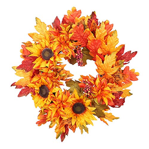 YU-NIYUT Autumn Simulation Wreath Garland Rattan Artificial Door Home Decor Thanksgiving for Festival Celebration Front Door Wall Window Party