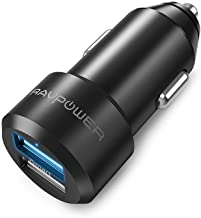 Caricabatterie Auto RAVPower Extra-Mini Alluminio 2 Porte, 24W / 4.8A, Caricatore USB Universale con Tecnologia iSmart. - Nero