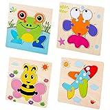 MRDUEWS 4 Pezzi Puzzle Animali in Legno per Bambini, Puzzle...