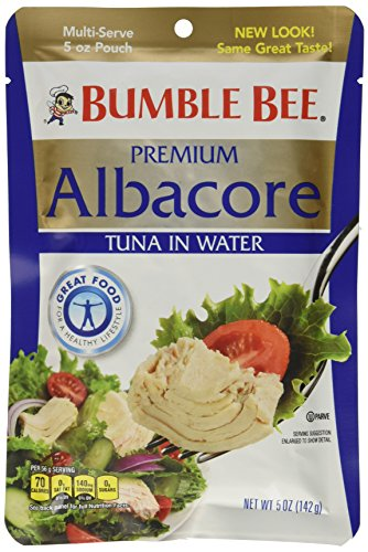 BUMBLE BEE Premium Albacore Tuna In Water Pouch, High Protein Food, Keto Food and Snacks, Gluten Free Food, High Protein Snacks, Canned Food, Bulk Tuna, 5 Ounce Pouches (Pack of 12)