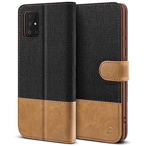 BEZ Hülle für Samsung A51 Hülle, Handyhülle Samsung A51 Kompatibel für Samsung Galaxy A51, Schutzhüllen aus Klappetui mit Kreditkartenhaltern, Ständer, Magnetverschluss, Schwarz