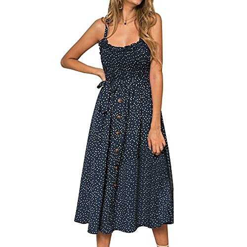 Wopam Women Summer Ruffles Polkas Dot Dress Ladies Beach Casual Sleeveless Midi Sundress