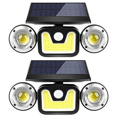 Solar Motion Sensor Lights Outdoor,BFULL 3 Heads Lights Solar Powered,83 COB LED 15000 Lumens Flood Light Motion Detected Spotlights IP67 Waterproof 360° Rotatable for Porch Garden Patio Garage,2 Pack