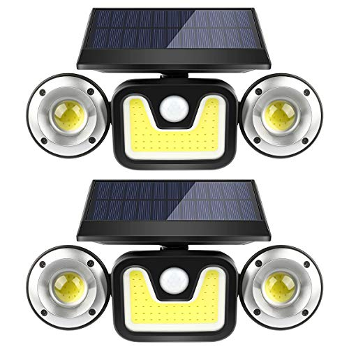 Solar Motion Sensor Lights Outdoor,BFULL 3 Heads Lights Solar Powered,83 COB LED Flood Light Motion Detected Spotlights IP67 Waterproof 360° Rotatable for Porch Garden Patio Garage,2 Pack