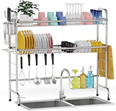 Over Sink Dish Rack, GSlife 2 Tier Stainless Steel Dish Rack Rustproof Durable Above Kitchen Sink Shelf Dish Drainer, Silver