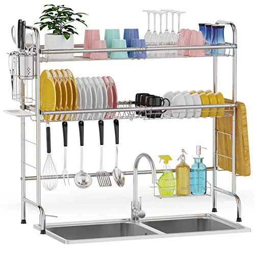 Over The Sink Dish Drying Rack, GSlife 2 Tier Stainless Steel Above Sink Dish Rack Sink Shelf for Kitchen, Rustproof Kitchen Sink Drying Rack for Storage, Silver