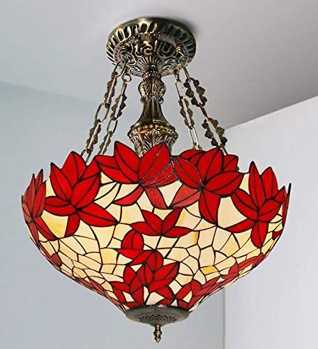 Chandelier Tiffany Style Pendant Lamp Red Mapleleaf Stained Glass Ceiling Pendant Fixture Restaurant Bar Dining Room Cafe Bar,B,50CM