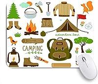 ECOMAOMI 可愛いマウスパッド キャンプ用品寝袋ブーツキャンプファイヤーシャベル手斧ログアートワークプリント 滑り止めゴムバッキングマウスパッドノートブックコンピュータマウスマット