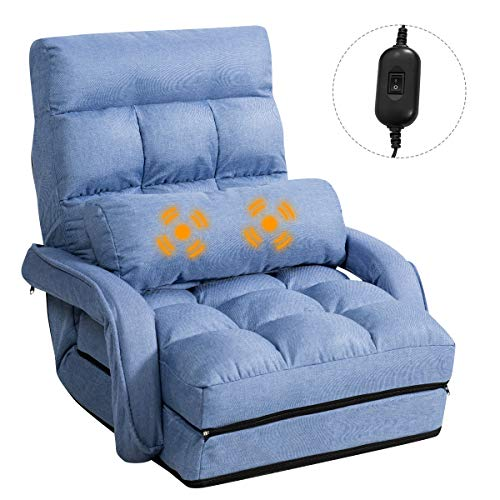Giantex Folding Lazy Sofa Floor Chair Sofa Lounger Bed with Armrests and a Pillow Lounger Bed Chaise...
