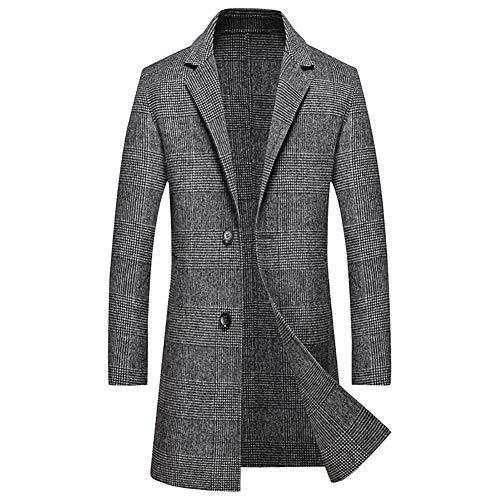NZHK lange jas voor heren winter, wollen jas voor de winter, dikke wollen jas, slanke halflange dikke warme