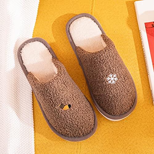 DHYF Pantuflas de algodón Antideslizantes,Calientes Pantuflas de Felpa de algodón, cómodas Pantuflas Antideslizantes.-C-5 marrón_41-42,Zapatillas de Invierno de algodón