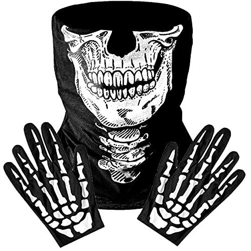 REDSTAR - Máscara de calavera y guantes de mano esqueleto, sin costuras para el cuello, protección contra el polvo, máscara para motociclismo, máscara unisex de Halloween para fiesta de disfraces