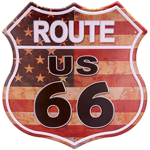 HANTAJANSS US Route 66 Signs Vintage Metal Road Signs for Garage, Man Cave, Bar, Home Decoration 12 Inches