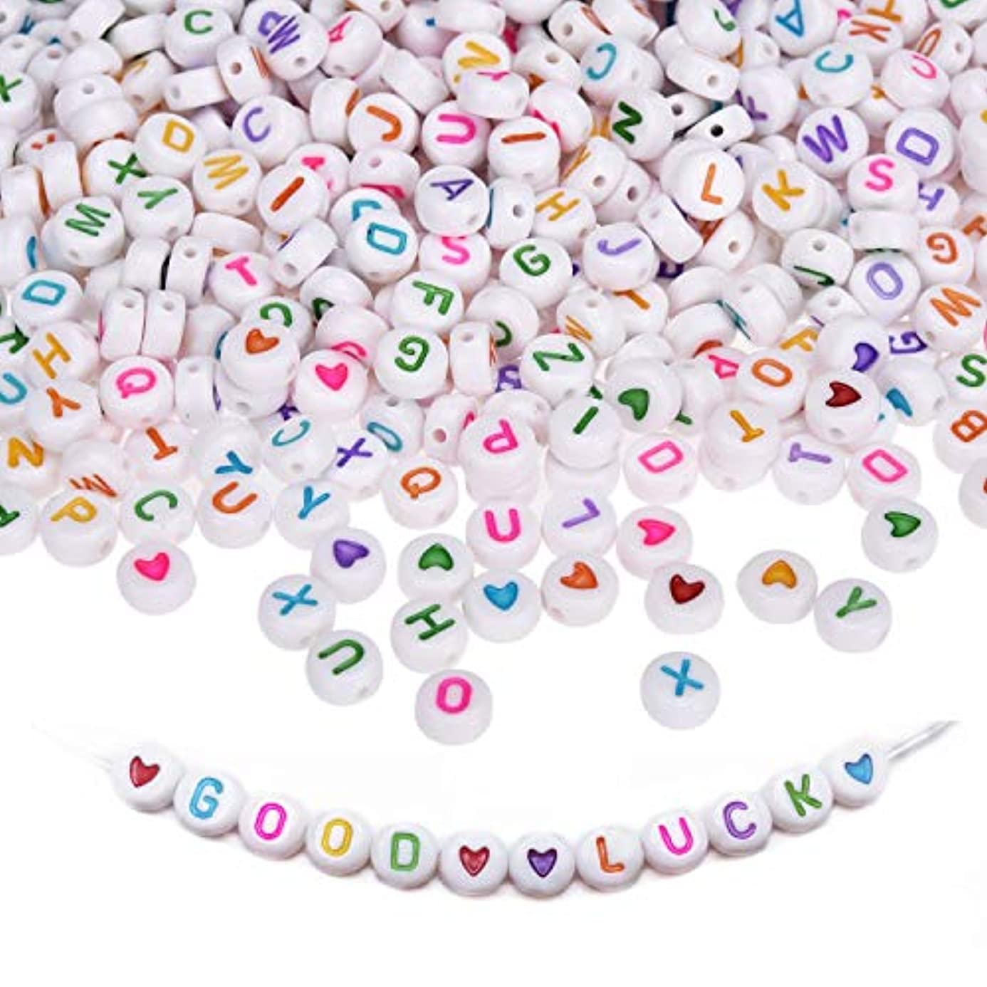 Amaney 1200 Pieces 4×7mm Round Acrylic Alphabet Letter Beads with Colourful Alphabet A-Z and Heart for Jewelry Making Bracelets Necklaces Key Chains and Kids Jewelry Each Letter Included ffx4006988