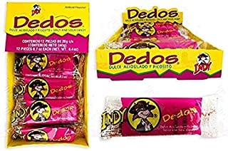 DEDOS INDY SPICY AND SOUR CANDY PACK OF 12 PCS Authentic Mexican Candy with Free Chocolate Kinder Bar Included