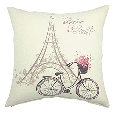 YOUR SMILE Paris Rustic Cycle Cotton Linen Square Cushion Covers Throw Pillow Covers Decorative 18 x 18 (Bicycle 2)