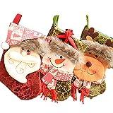 GAGP Calcetines de Navidad 3 Piezas Set Santa Lindo muñeco de Nieve Wapiti Chimenea Medias 3D Apliques Medias de Navidad para Hombre y Mujer