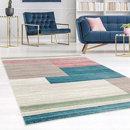 carpet city Teppich Flachflor Inspiration mit Geometrischen Muster, Meliert in Pastellfarben, Blau, Rosa, Mint, Creme, Beige für Wohnzimmer, Größe: 120x170 cm