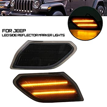 AILEAD Smoke Lens Amber Full LED Side Marker Lamp Lights Assy for 2018-up Jeep Wrangler JL Powered by 27-Diode LED Replace OEM Sidemarker Lamps  Smoked Lens Amber
