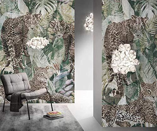 Papel Pintado 3D Tigre De Plantas Tropicales Minimalista Retro Europeo 400 x 280 cm Fotomurales Pared Dormitorio Papel Pintado Fotográfico Mural