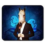 Pferd Passen Krawatte Cool Komisch Mouse Mat Pad, Pferd rutschfeste Unterlage - Glatte Oberfläche, verbessertes Tracking, Gummibasis von Wellcoda