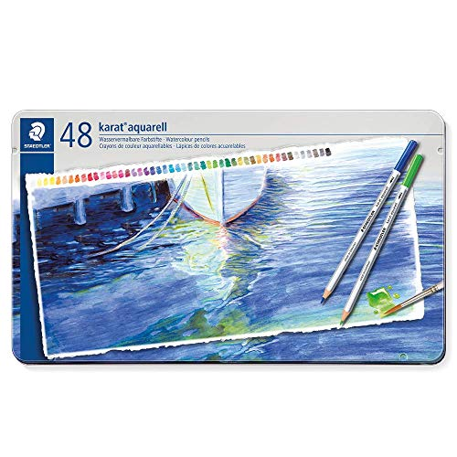 Staedtler Karat Aquarell 125 Professional Watercolour Pencils Tin - Assorted Colours (Set of 48)