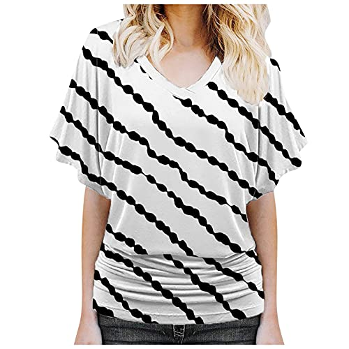 Tops for Women Tie Dye Print Basic Tees Loose Short Sleeve T Shirts Boat Neck V-Neck Dolman Blouse with Side Shirring
