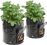 Bolsas para cultivo de patatas, 50 l (7 galones), 34 x 35 cm, bolsas para macetas con ventana abatible y asa, hortalizas de cultivo: patata, zanahoria, tomate, cebolla (paquete de 2)