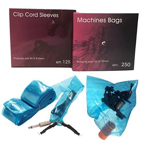Aozzy higiene desechables 125pcs tatuaje Clip Cord Cubiertas y 250pcs tatuaje máquina Pistola adhesivo de bolsas de color, color azul