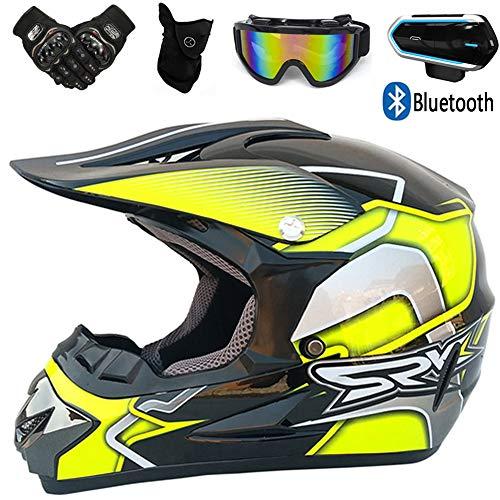 YASE Motorrad Motocross Helm Herren, Bluetooth-Kommunikation Crosshelm mit Motorradhandschuhe Schutzbrille Gesichtsmaske Kopfhörer, Mountainbike Motocrosshelm für MTB ATV Brille,Gelb,XL (58~59CM)