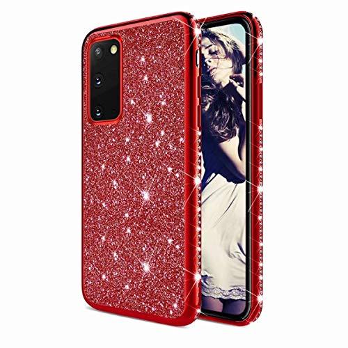 TYWZ Strass Hülle für Samsung Galaxy S20 Plus,Glitzer Diamant Glanz Bling Mädchen Case Cover Ultra-Slim Stoßfeste Anti-Rutsch Silikon Schutzhülle-Rot