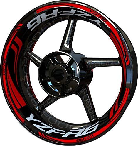 Motocicleta Moto Llanta Inner Rim Tape Decal Pegatinas F2 para Yamaha YZF R6 YZFR6 YZF-R6 (Rojo 2)