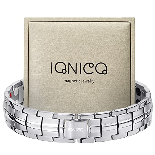 IONICO Magnetic Bracelet for Men and Women   Stress & Pain Healing Product   Alternative Blood Pressure and Circulation Medicine   Balance Therapy for Wellness and Strength (Silver)