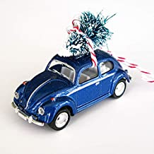 Blue VW Bug Christmas Ornament with Tree on Top