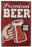 Charming Crew 復古調 ブリキ看板 アメリカン ガレージ ビール BEER プレミアム ビア Premiun Beer 復刻版 アンティーク風 雑貨 おしゃれ インテリア