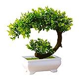 Gespout Plante en Pot Plante Artificielle Mini Pin Design Plastique Bonsaï de Simulation Extérieur Plante Verte Décoration d'intérieur Salon Table à Manger Chambre Bureau