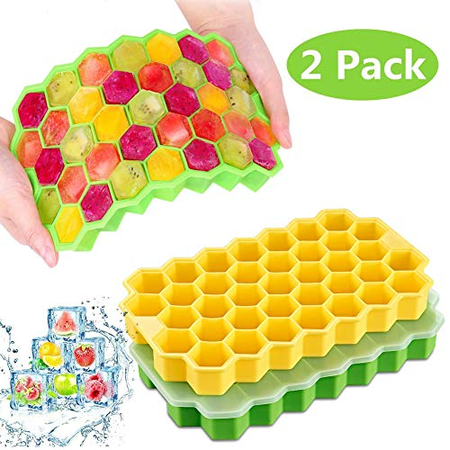 Ice Cube Trays, 2 Pack Silicone Ice Cube Molds with Lid Flexible 74-Ice Trays for Whiskey Cocktail Baby Food, Stackable Easy-Release Safe Ice Cube Molds