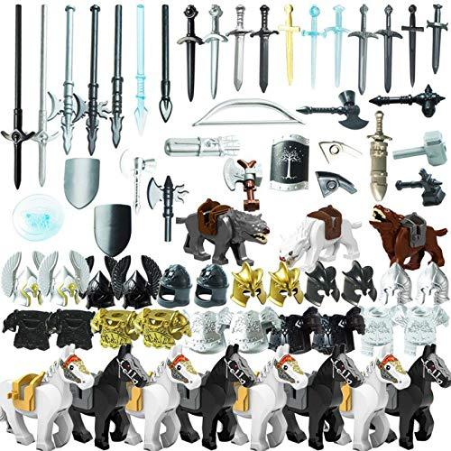 SENG Juego de 75 cascos de caballero, armadura de caballero, escudo y armas personalizadas, para minifiguras de policía SWAT Team de la policía, compatible con Lego