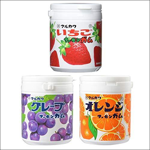 マーブルガムボトル 130g 3点セット(グレープ・オレンジ・いちご) 丸川製菓