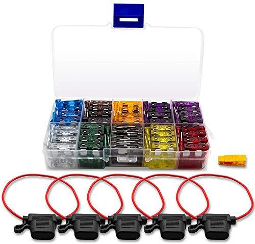 100 Stück Standard Mini Auto Sicherungen Set Flachsicherung KFZ Sicherungen - maßgebend Autosicherungen mit Aufbewahrungskoffer und 5 Inline-Sicherungshalter 16AWG und 1 Blattsicherungs-Extrator